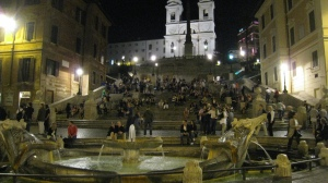 Nightime view of the Spanish Steps